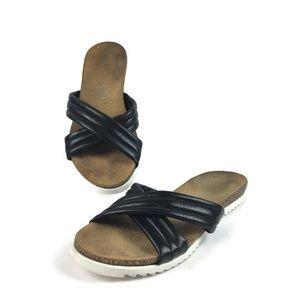 Seychelles Dusk Black Leather Platform Sandals